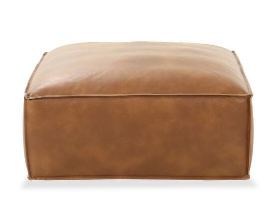 "Casual Rectangular 35"" Leather Ottoman in Brown"
