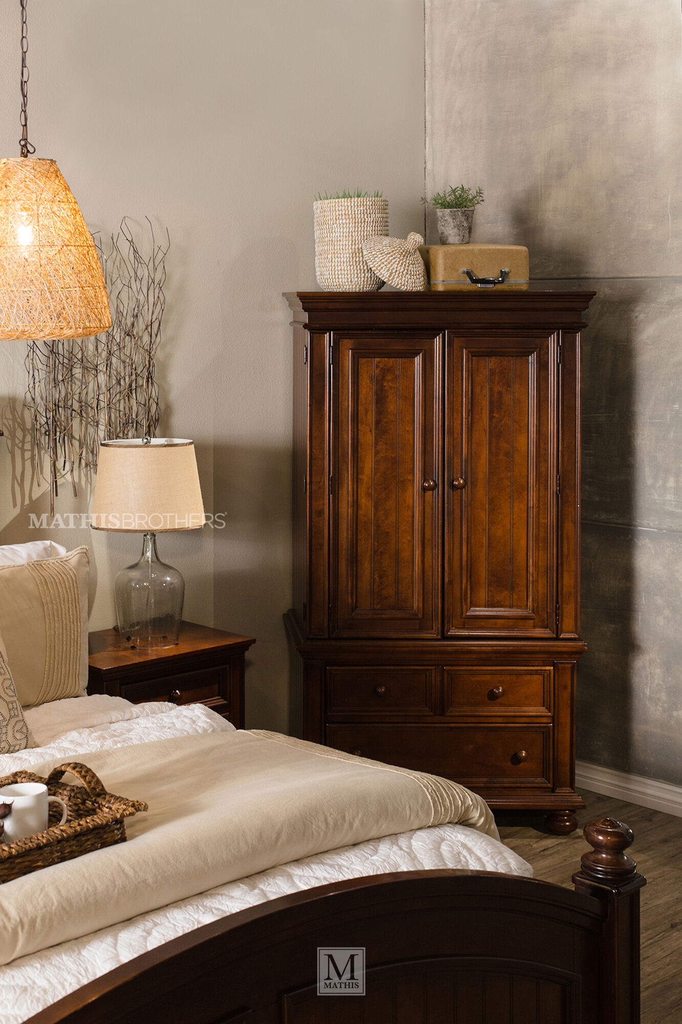 "76"" Casual Bedroom Armoire in Brown 
