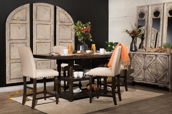 "Traditional 60"" to 78"" Tall Dining Table in Dark Espresso"