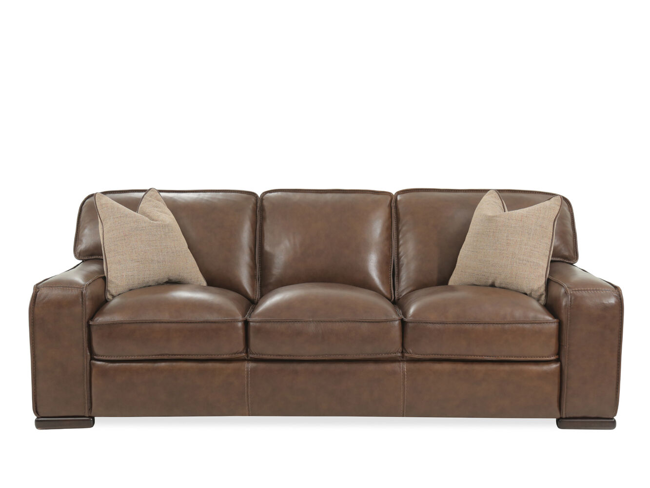 Traditional 93 leather sofa in brown mathis brothers for Traditional leather sofas furniture