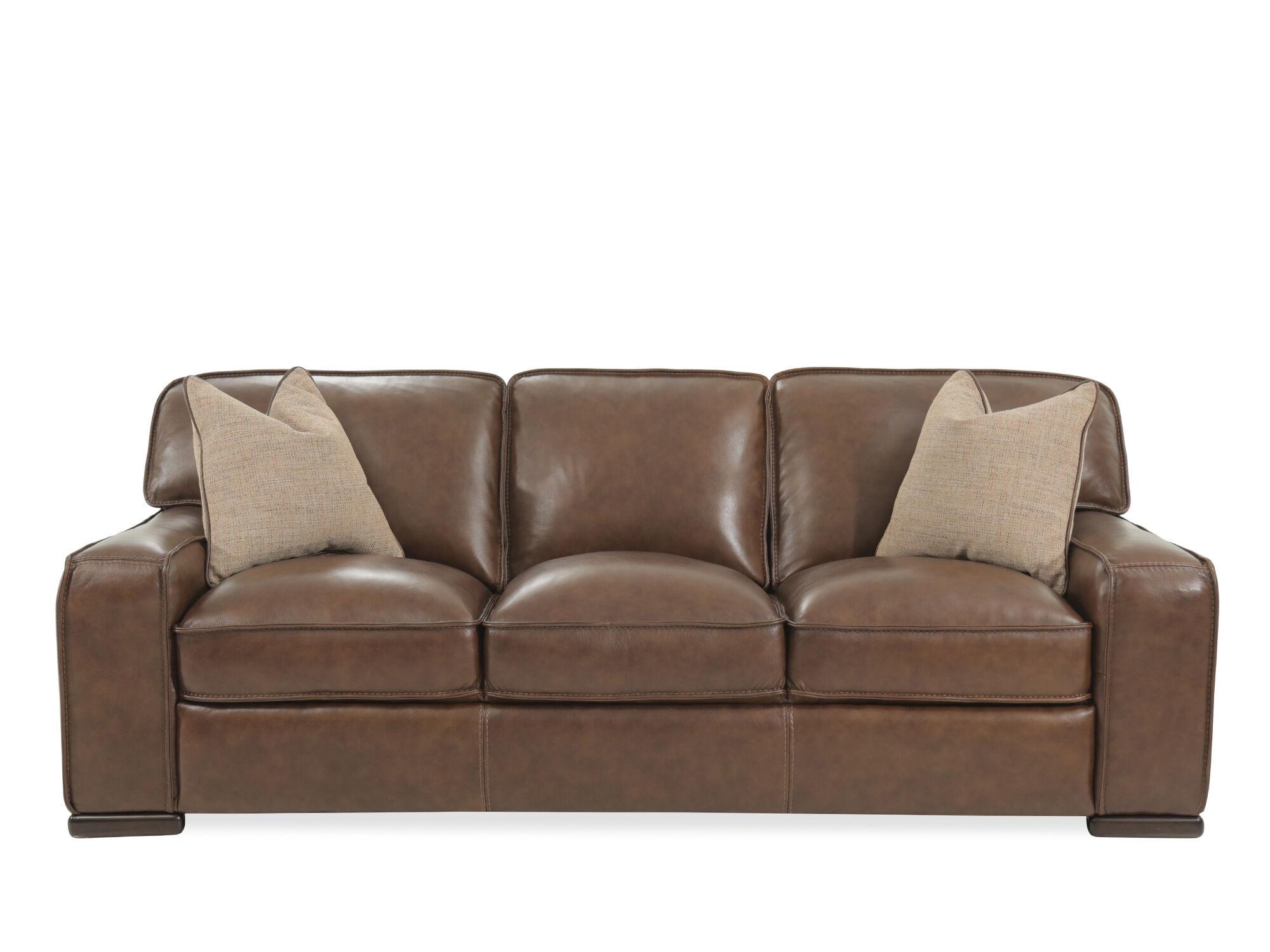 Traditional 93u0026quot; Leather Sofa ...