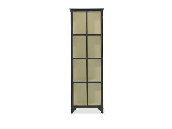 Framed Glass Door Modern Display Cabinet in Black