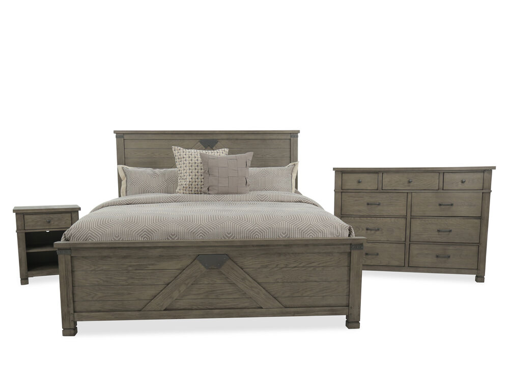 Three-Piece Country Bedroom Set in Stone | Mathis Brothers ...