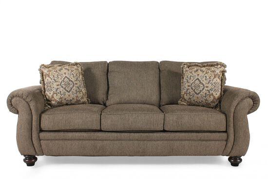"""Corduroy 89"""" Queen Sleeper Sofa in Teak"""