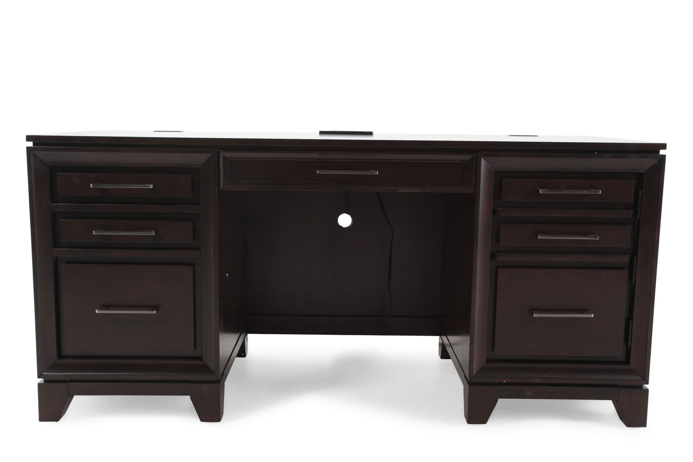66 Traditional Six Drawer Credenza Desk In Brown Mathis Brothers Furniture