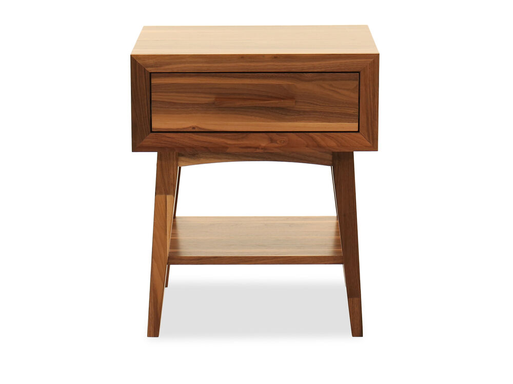 Modern One-Drawer Side Chair Table in Walnut