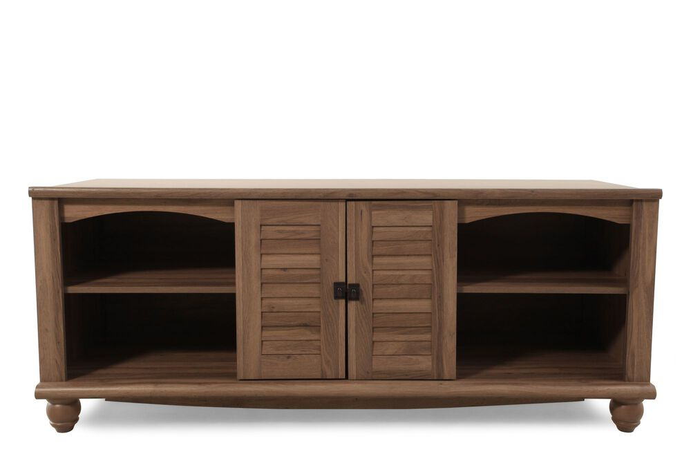 Louvered Doors Casual Entertainment Credenza in Warm Cinnamon