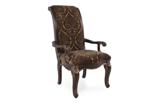 Rolled Back 45'' Arm Chair in Russet Brown