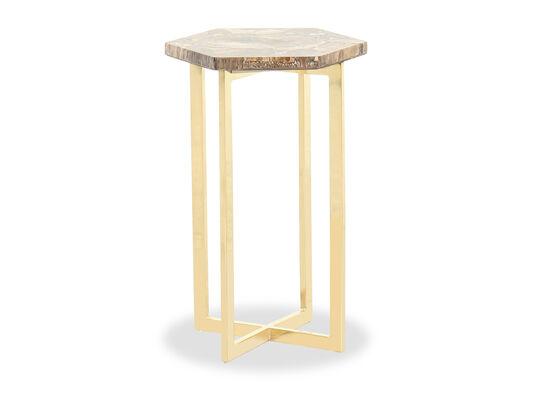 Modern Hexagonal Side Table in Gold