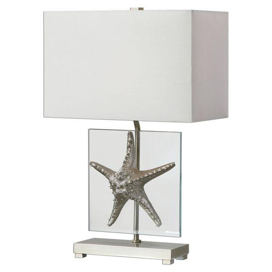 Hardback Rectangle Shade Starfish Table Lamp in Silver