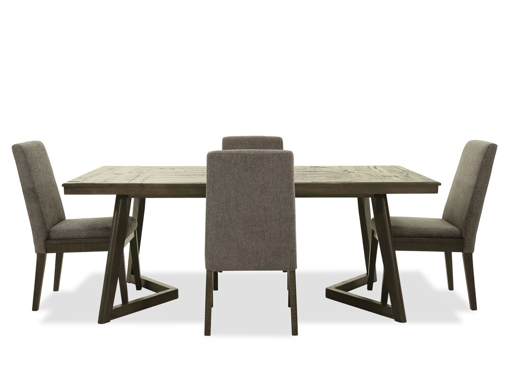 Five Piece Contemporary Rectangular Dining Set In Gray Mathis
