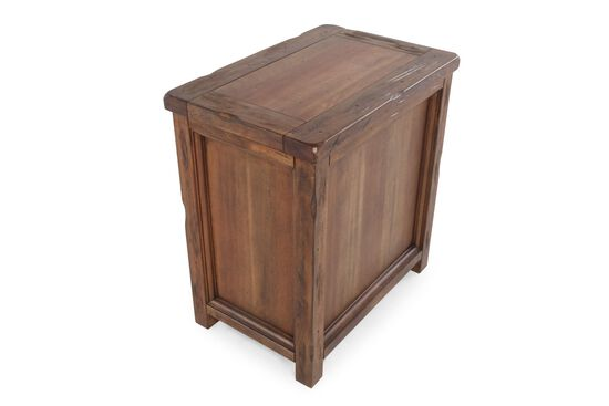 Wire-Mesh Accented Contemporary Chairside Table in Chestnut Brown