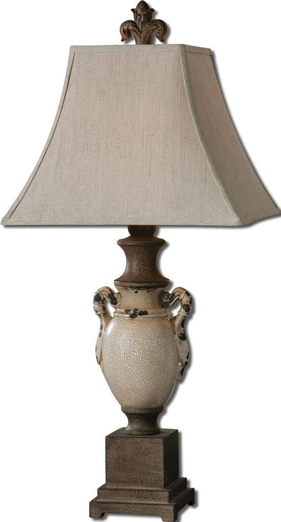 Distressed Base Table Lamp in Antique Crackle Ivory