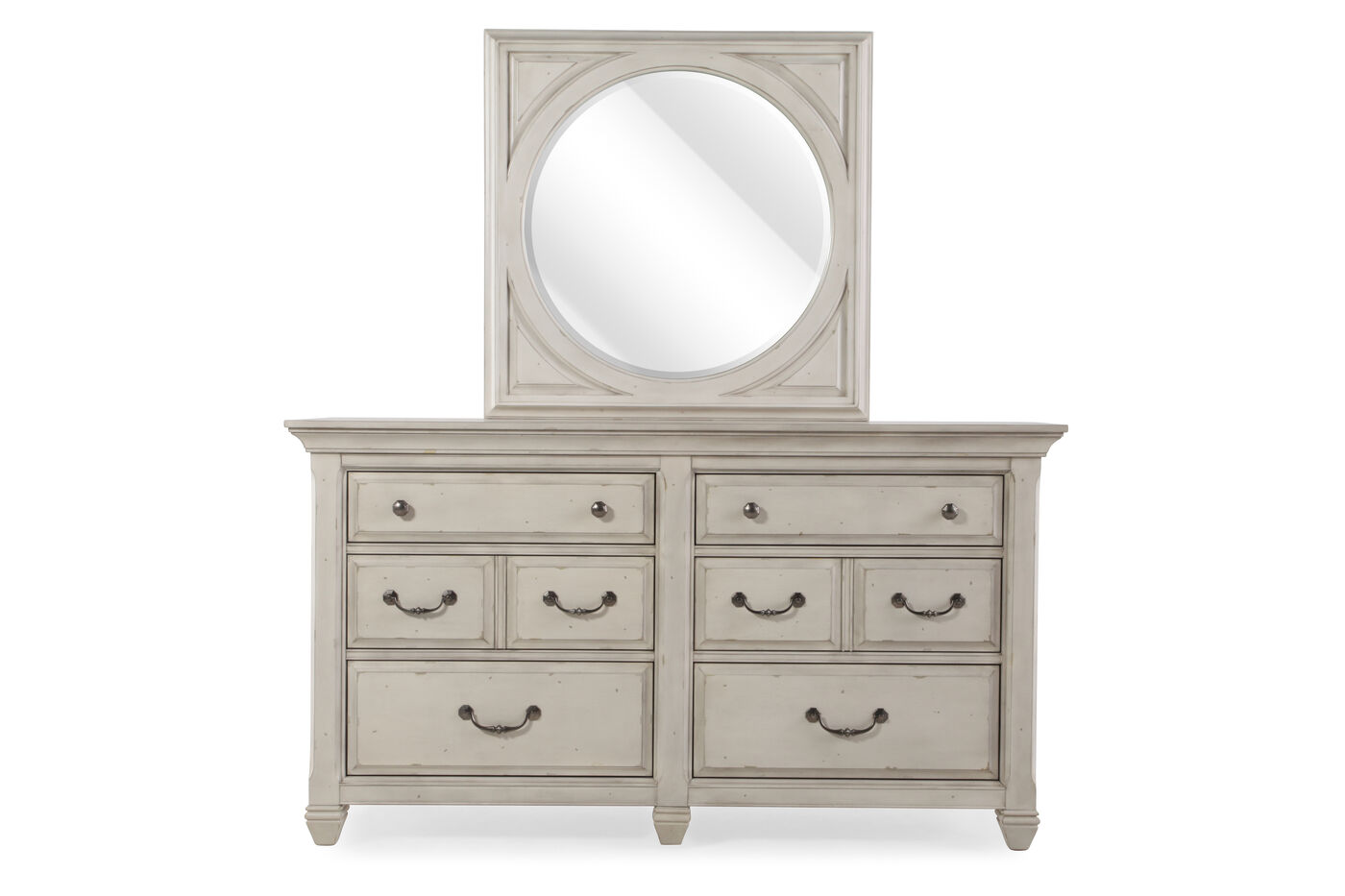 Images Two Piece Weathered Dresser And Mirror In Cream