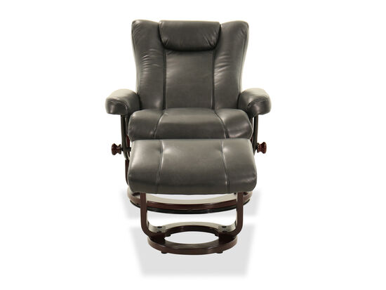 Haven My Place Chairs Riley Leather Gray Chair & Ottoman