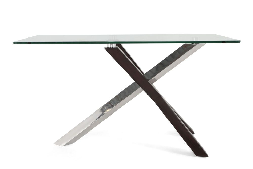 Rectangular Glass Top Contemporary Sofa Table in Silver
