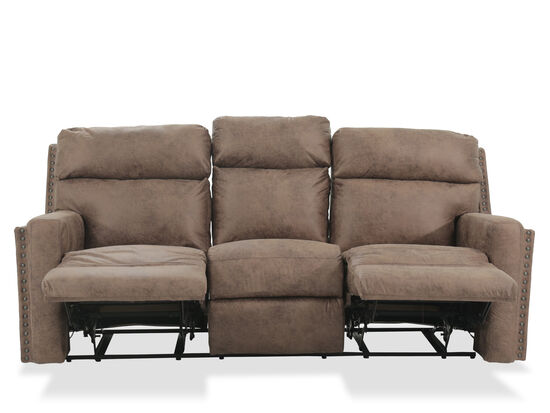 nailhead accented leather reclining sofa in brown mathis brothers furniture. Black Bedroom Furniture Sets. Home Design Ideas