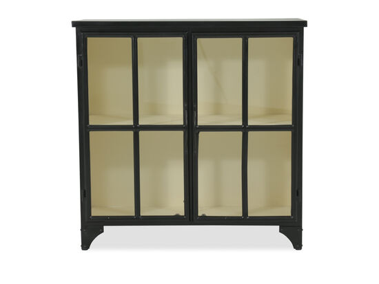 Casual Windowpane-Door Console in Black