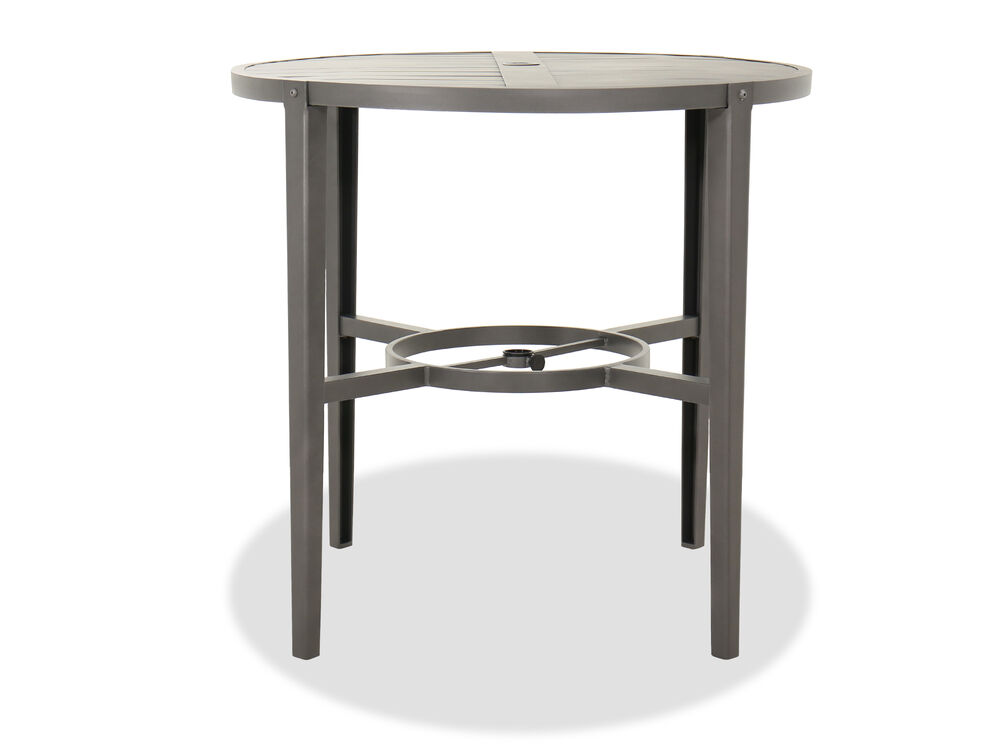 Casual Aluminum Round Patio Bar Table in Gray