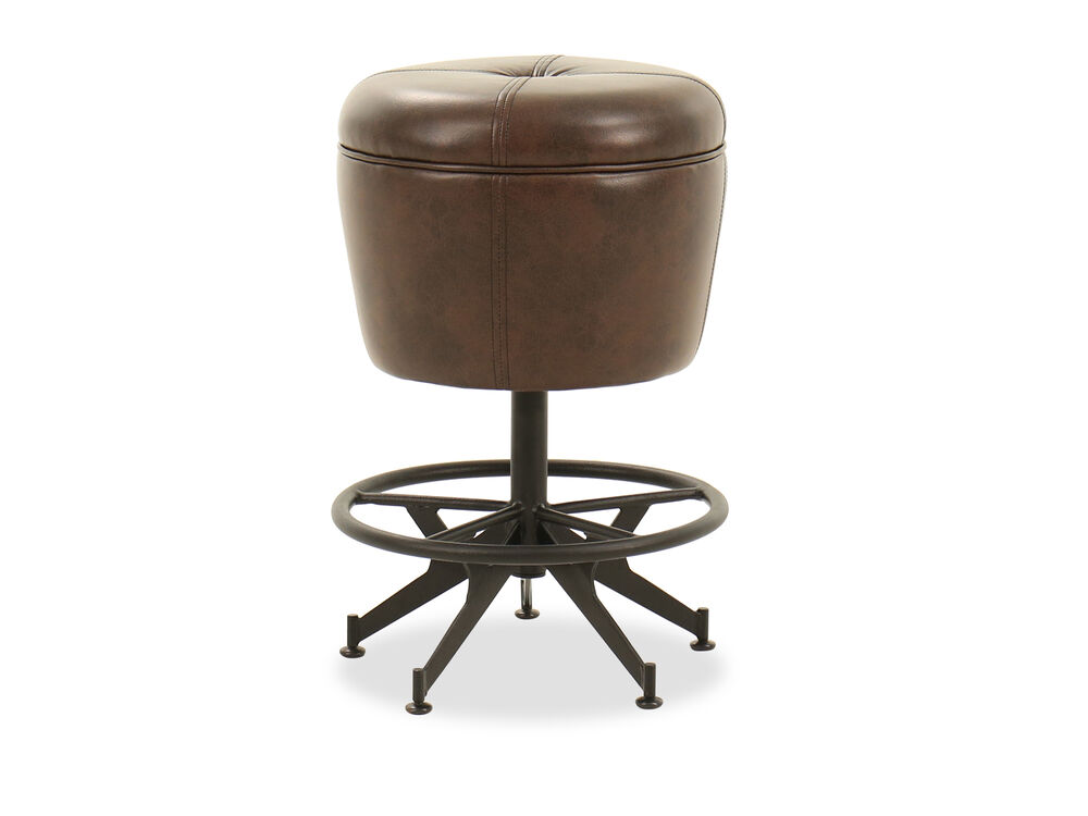 "Traditional 24"" Button-Tufted Gathering Stool in Brown"
