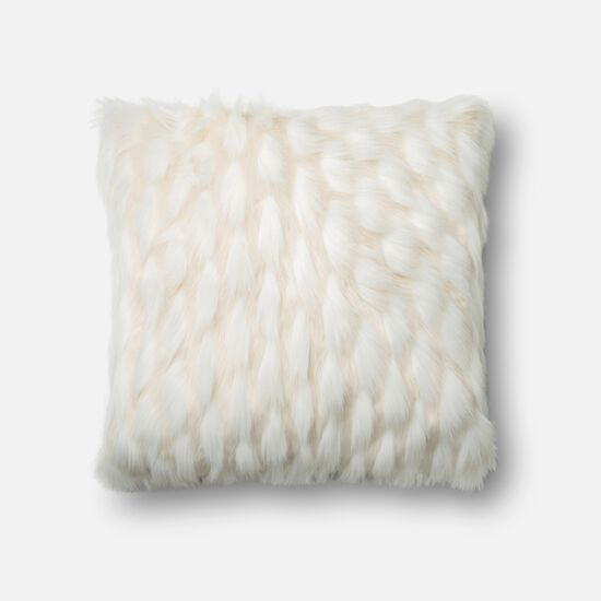 "Contemporary 22""x22"" Cover w/Down Pillow in White"
