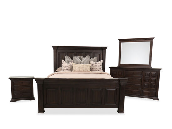 Four-Piece Traditional King Bed Suite in Brown