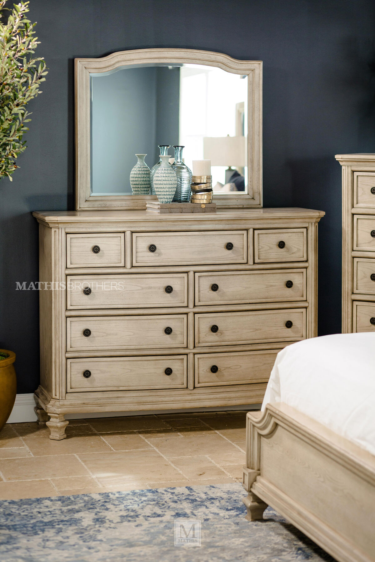 ... Two Piece Paneled Dresser And Mirror In White
