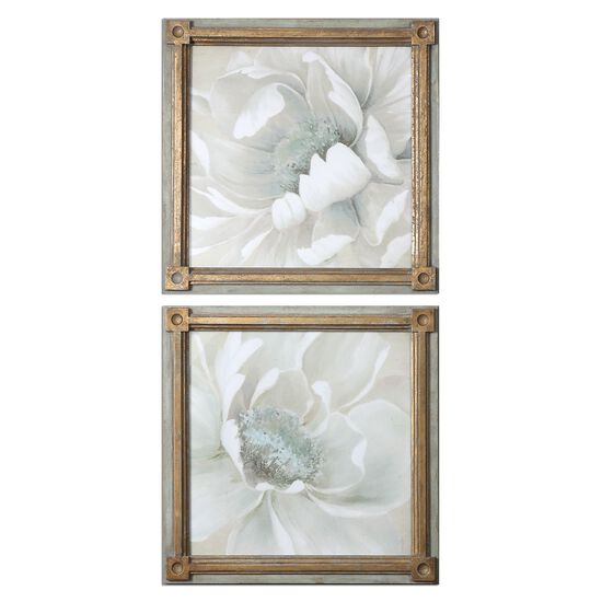Two-Piece Floral Printed Framed Wall Art Set in Green/Beige/Gray