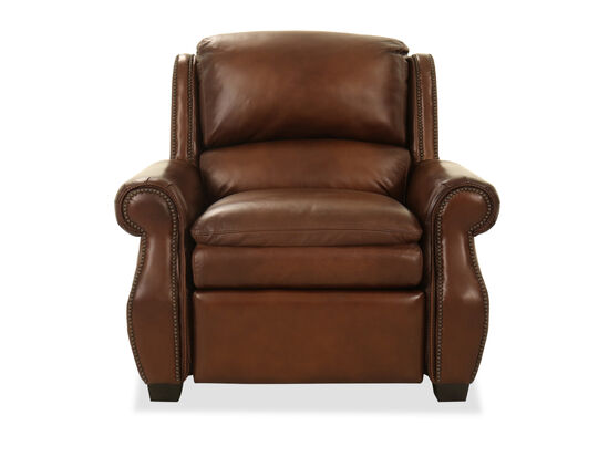 "Nailhead Accent Leather 43"" Power Recliner in Brown"