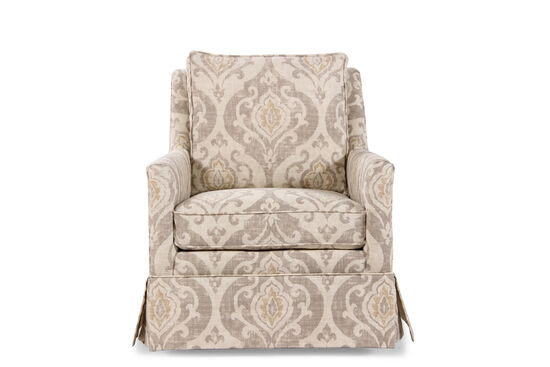 "Paisley Patterned Transitional 29.5"" Swivel Chair in Cream"