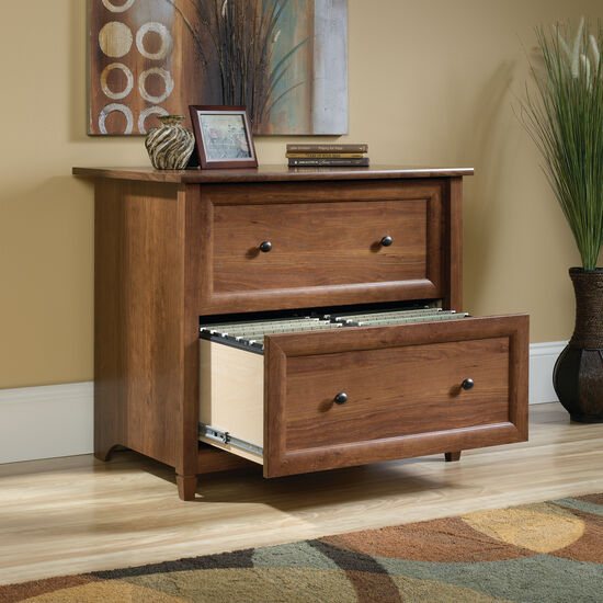 Two-Drawer Contemporary Lateral File in Auburn Cherry