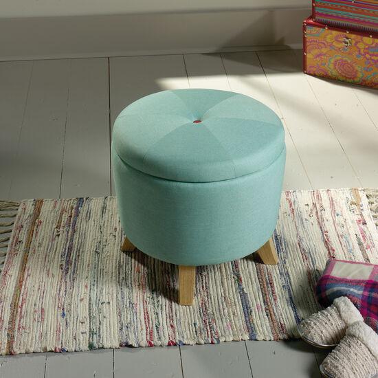 "Button-Tufted Traditional 20"" Storage Ottoman in Aqua"