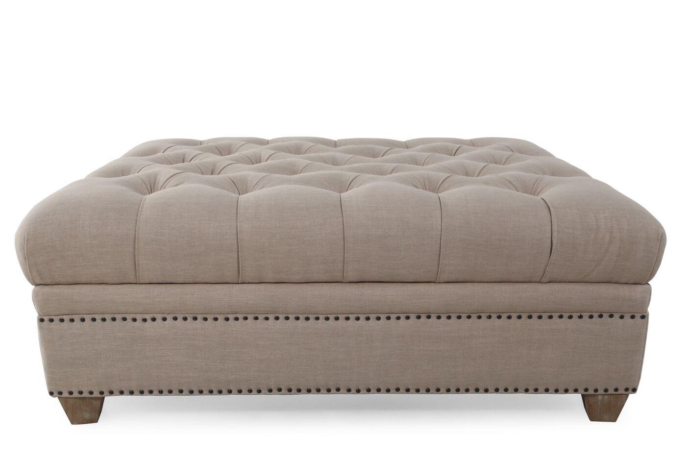 """Button-Tufted Contemporary 48"""" Storage Ottoman In Cream"""