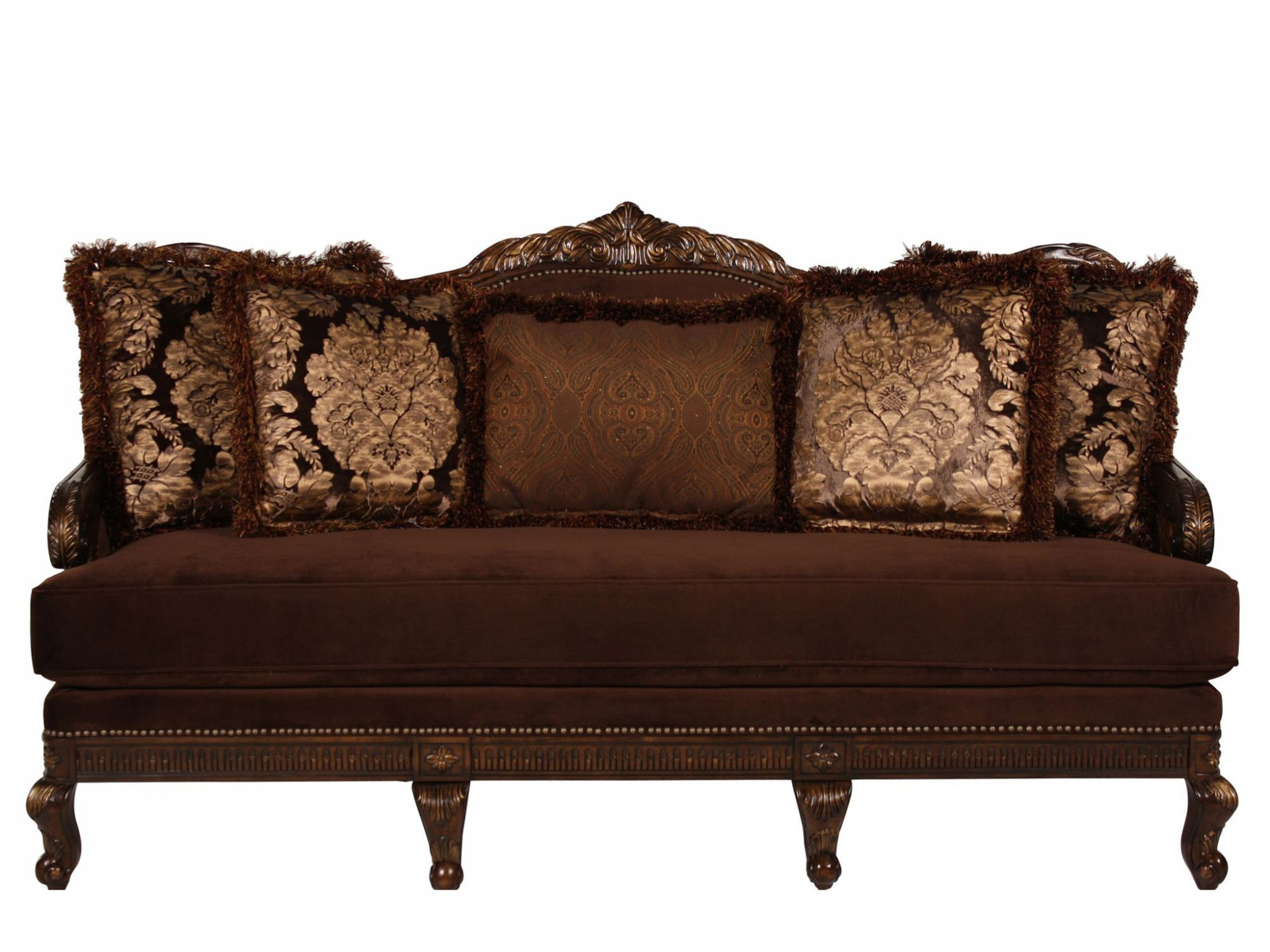 Images Leaf Carved Velvet 80u0026quot; Sofa In Plum Leaf Carved Velvet 80u0026quot;  Sofa In Plum