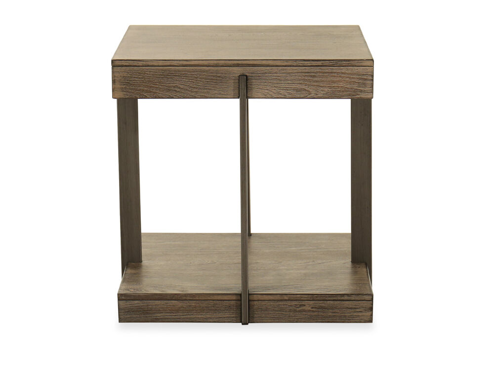 Contemporary Square End Table in Brown