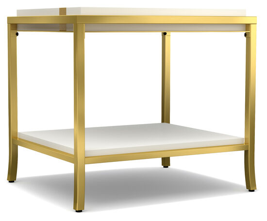 Side Stripe End Table in Cream