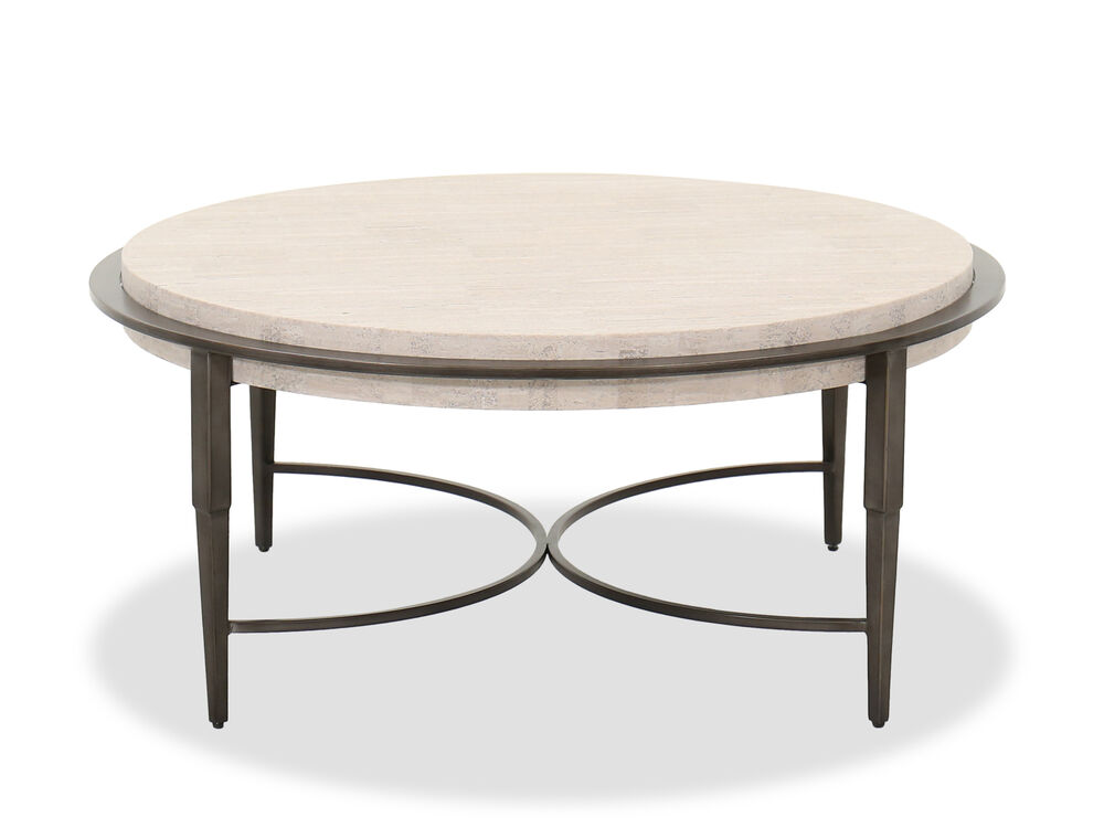 Transitional Round Cocktail Table In Antique Pewter Mathis Brothers Furniture