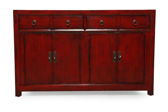 Antique Ring Pull Transitional Entertainment Console in Dark Red