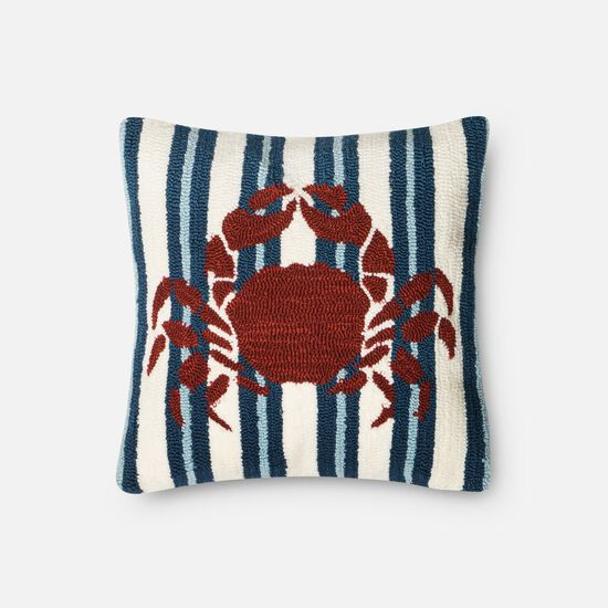 "Indoor/Outdoor 18""x18"" Pillow Cover Only in Navy/Red"