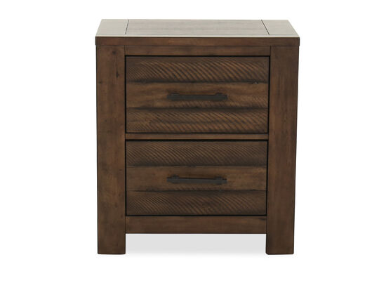 """29"""" Industrial Two-Drawer Nightstand in Brown"""