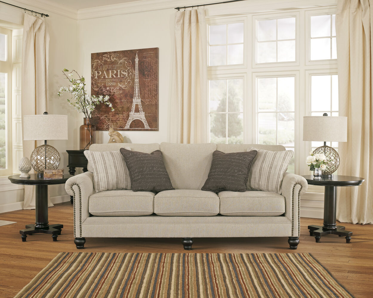 Casual nailhead accented 90 sofa in linen mathis for Sm living room furnitures