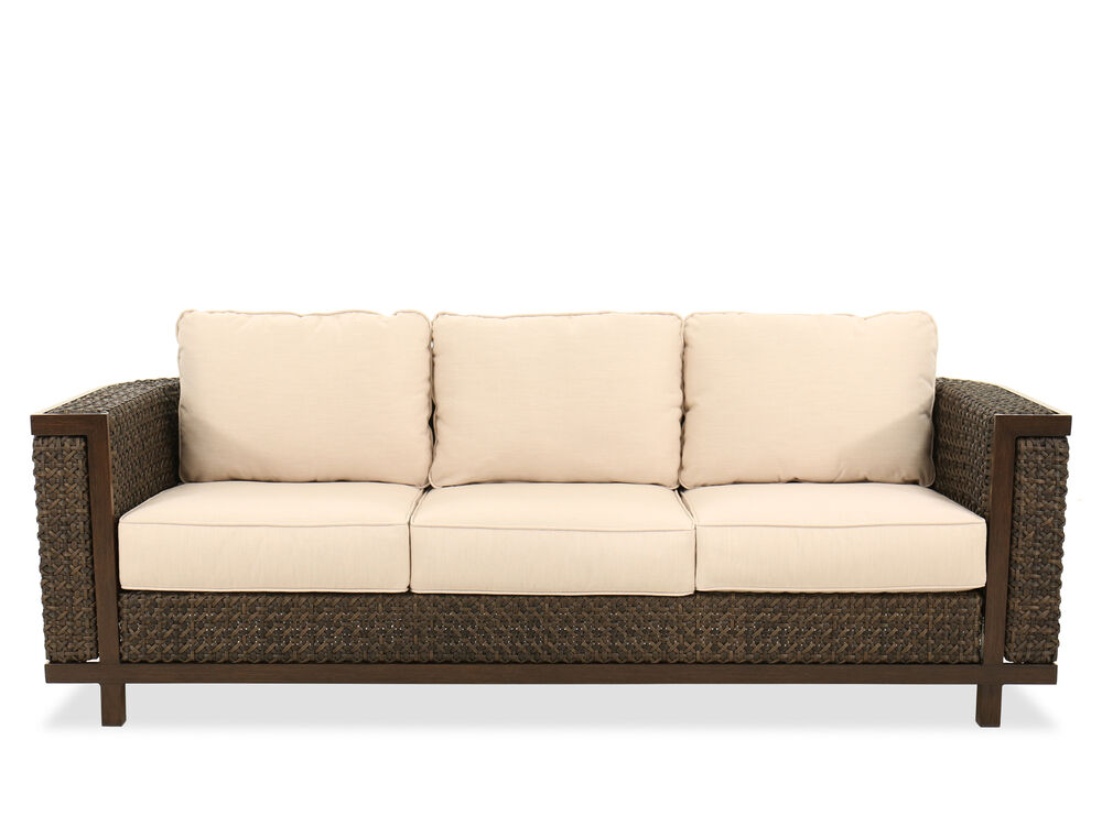 Contemporary Water-Resistant Woven Sofa in Cream