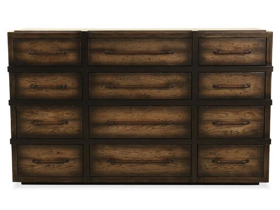"41"" Casual 12-Drawer Dresser in Dark Wood"