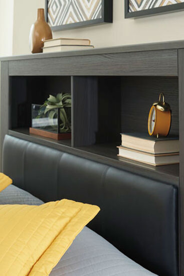 """57"""" Contemporary King Bookcase Headboard in Brown"""