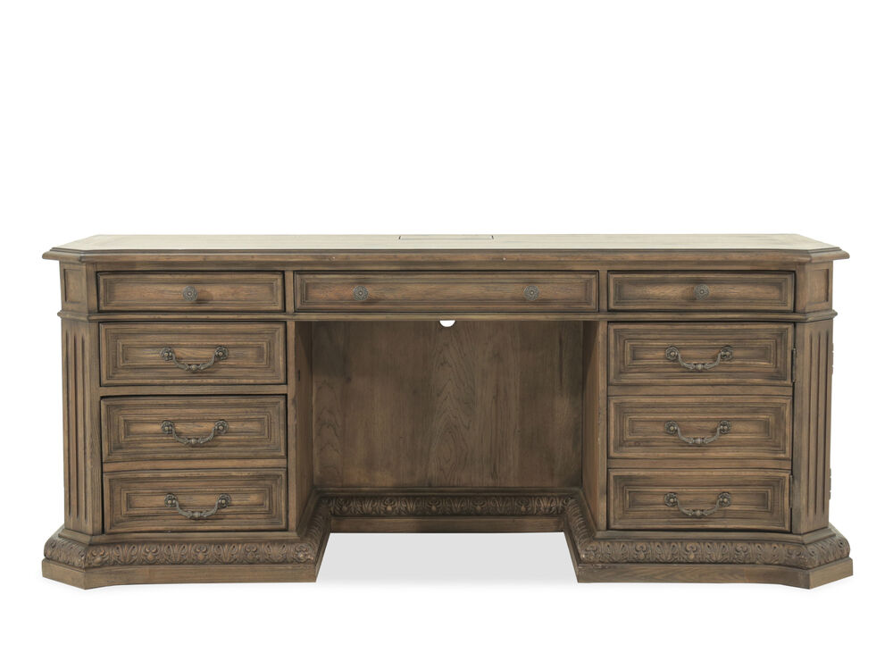"""75"""" Traditional Five-drawer Computer Credenza in Brown"""