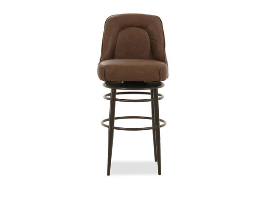 """Leather 30"""" Swivel Bar Stool in Brown"""