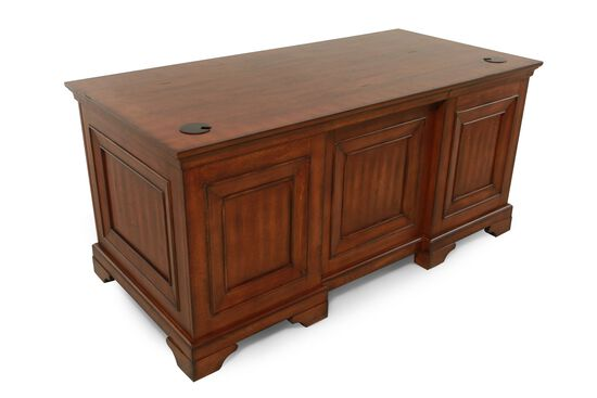 "66"" Seven-Drawer Traditional Executive Desk in Oak"