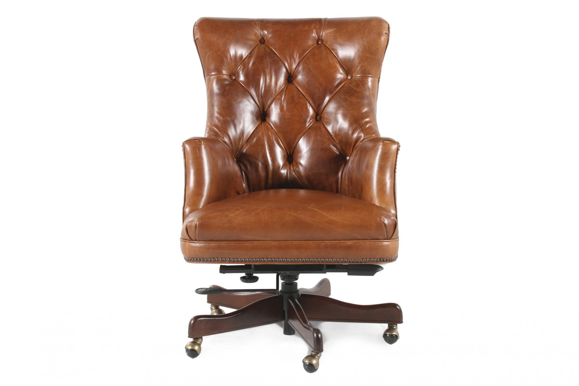 leather tufted executive swivel tilt chair in medium brown. Black Bedroom Furniture Sets. Home Design Ideas