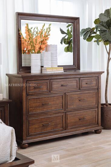 Two-Piece Transitional Seven-Dresser and Mirror in Dark Brown