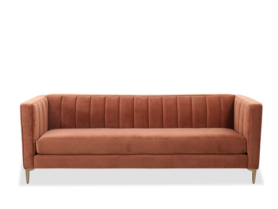 """Mid-century Modern 90"""" Tufted Sofa in Clay"""